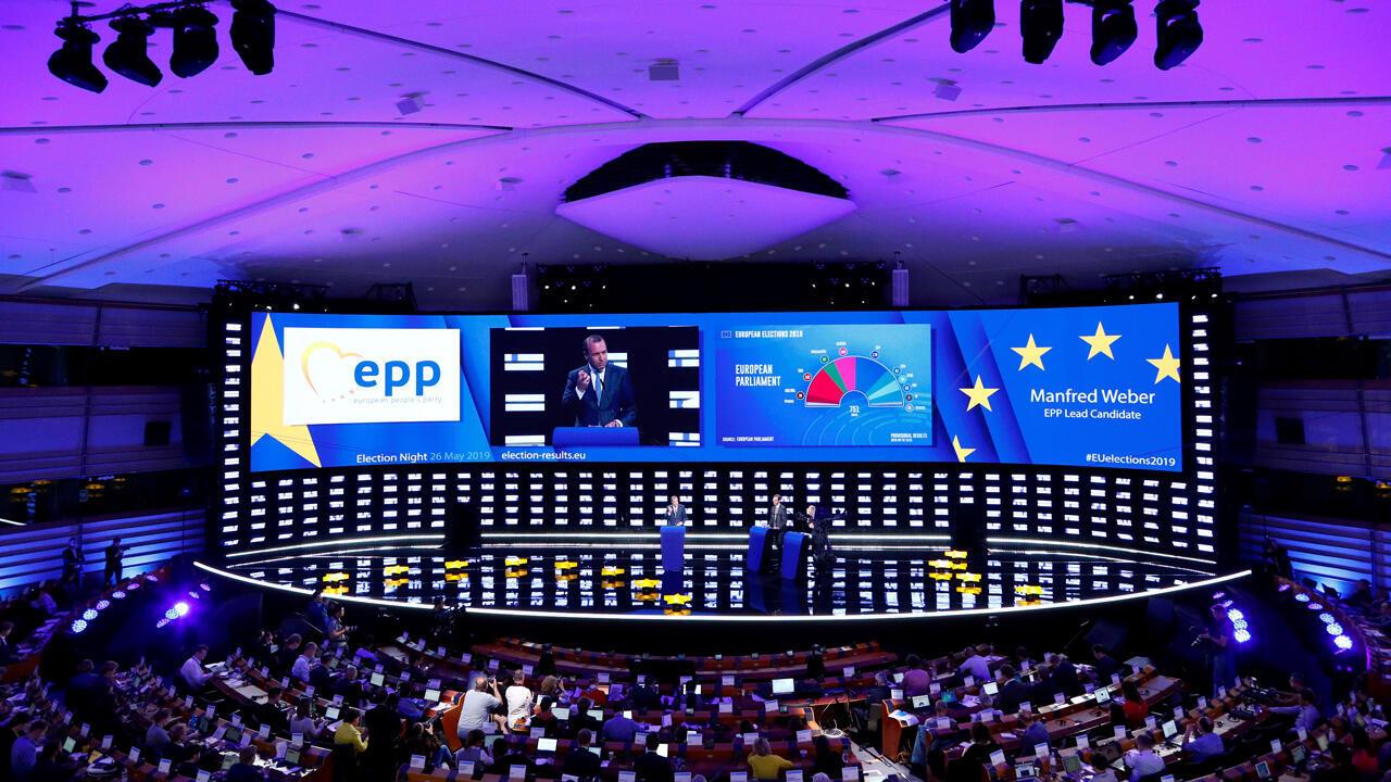 Manfred Weber, candidato del PPE para ser el próximo presidente de la Comisión Europea, interviene en la sala de plenos en Bruselas, Bélgica, el 27 de mayo de 2019.