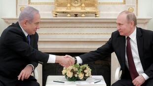 الرئيس الروسي فلاديمير بوتين ورئيس الوزراء الإسرائيلي بنيامين نتانياهو في موسكو 27 فبراير/شباط 2019