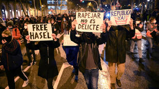 Protesters march for the liberation of rapper Pablo Hasel in Barcelona, Spain, on February 22 2021.
