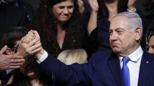 Benjamin Netanyahou a revendiqué la victoire devant ses partisans, mercredi 10 avril 2019.