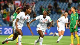 Kadeisha Buchanan célèbre son but face au Cameroun, le 10 juin 2019, à Montpellier.