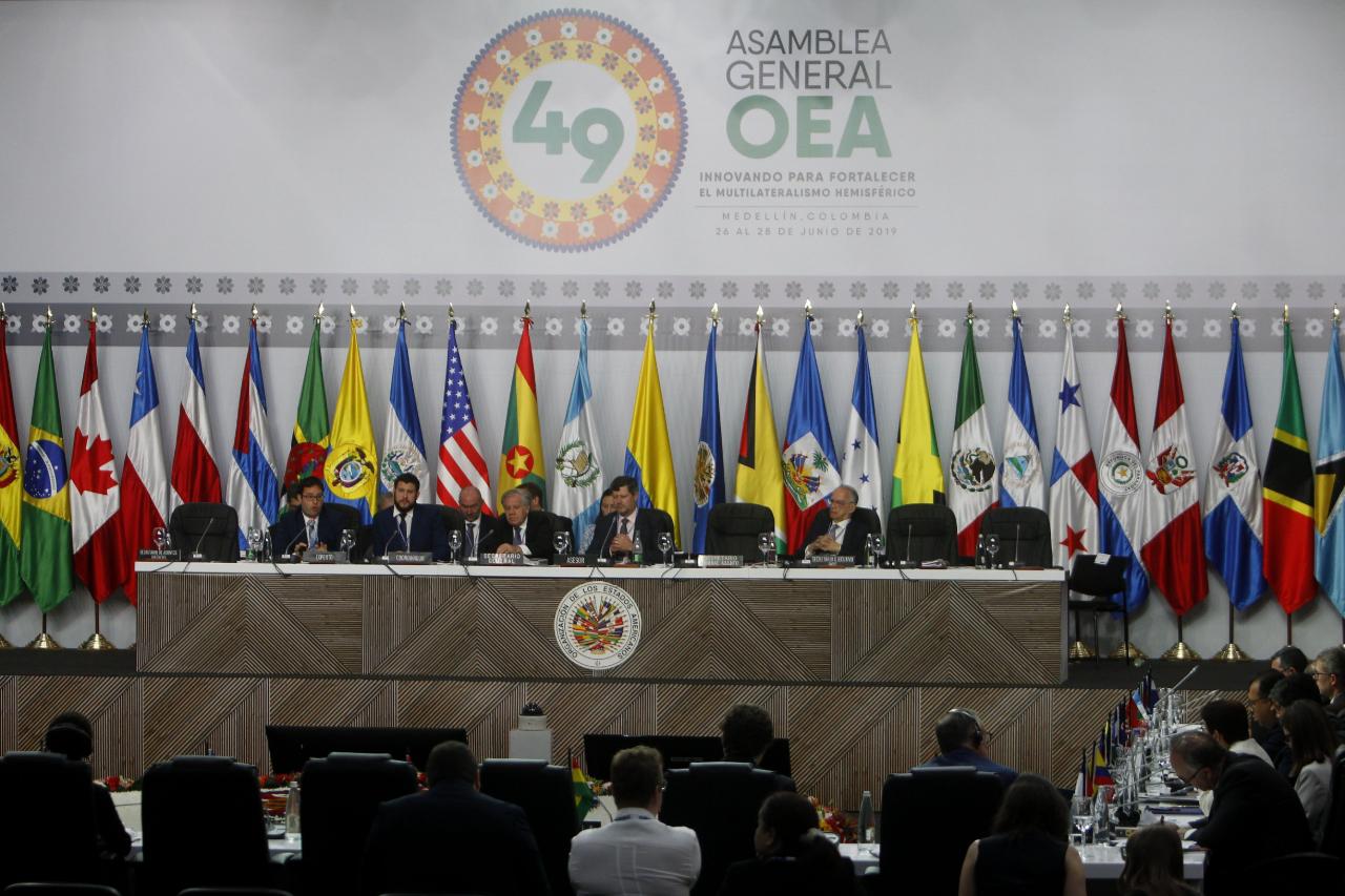 Vista general durante la presentación de un informe sobre la crisis de migrantes y refugiados venezolanos, en la 49 Asamblea General de la OEA, en Medellín, Colombia. 28 de junio de 2019.