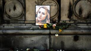 Des hommages à la journaliste Viktoria Marinova ont été rendus dans la ville bulgare de Roussé, le 9 octobre 2018.