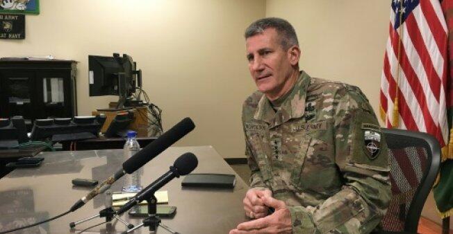 قائد القوات الأمريكية والأطلسية في أفغانستان، الجنرال جون نيكولسن، 14مارس 2018 في كابول