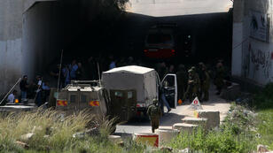 Force de sécurité israélienne après une attaque au couteau à Qalqilyah, en Cisjordanie, le 9 mars 2016.