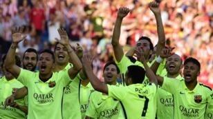 تتويج برشلونة بلقب الدوري في أيار/مايو 2015.