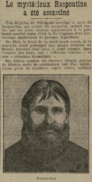 La mort de Raspoutine annoncé dans le journal Excelsior du 1er janvier 1917