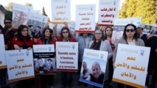 نساء في مسيرة في المغرب للتنديد بمقتل السائحتين الاسكندنافيتين في 2018