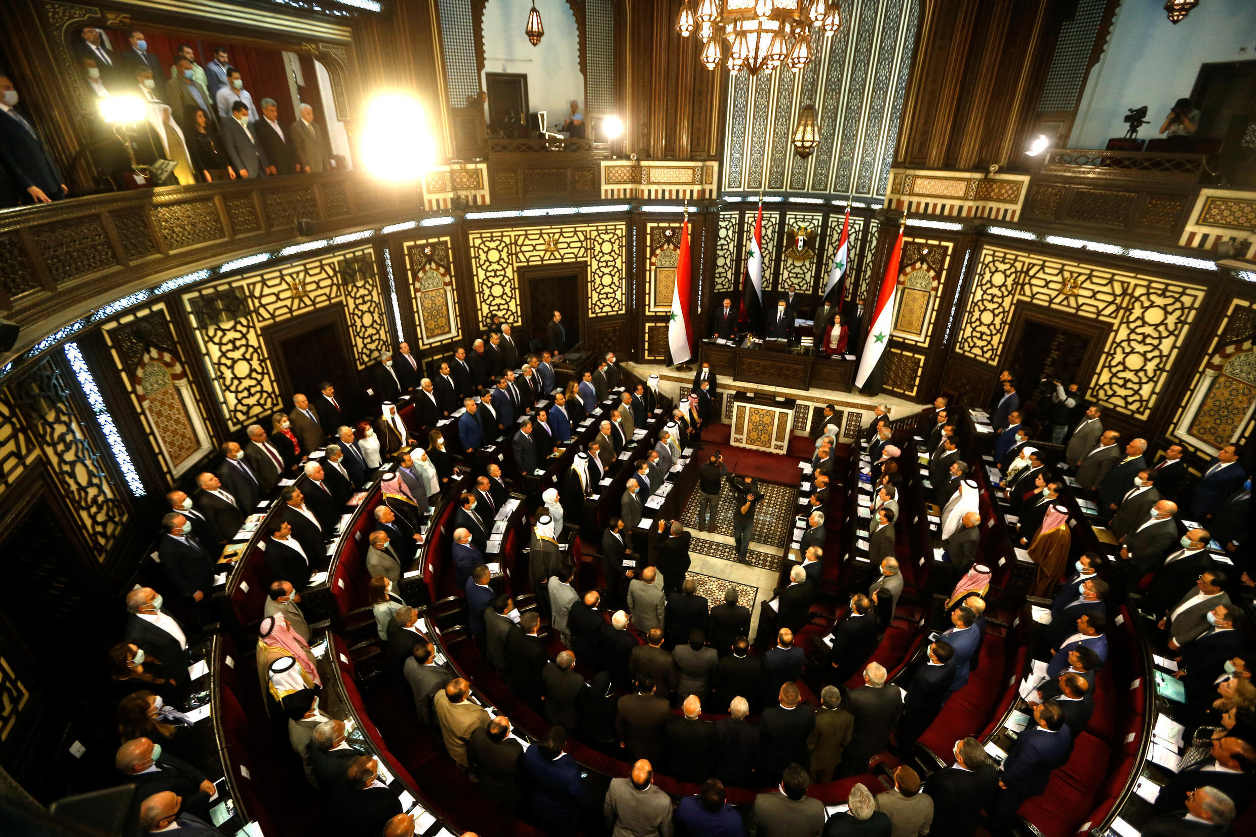 Members of the Syrian parliament meet to discuss the next presidential elections, in the capital Damascus, on April 18, 2021. Syria will hold presidential elections on May 26, as announced today by the president of the parliament, the second in the shadow country. from the civil war, which is considered to be able to keep President Bashar Al-Assad in power.