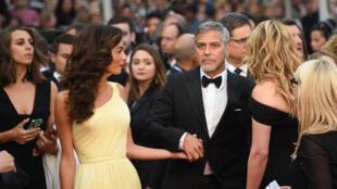 جورج كلوني برفقة زوجته أمل علم الدين في مهرجان كان 2016
