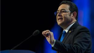 El presidente de Guatemala, Jimmy Morales, hablando en la conferencia de política del Comité de Asuntos Públicos de Israel (AIPAC) en Washington, DC. 4 de marzo de 2018.