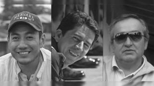Combinación de imágenes creadas el 13 de abril de 2018 que muestra (de izquierda a derecha) al periodista ecuatoriano Javier Ortega (32), el fotógrafo Paul Rivas (45) y el conductor Efraín Segarra (60) que murieron en cautiverio tras ser secuestrados por rebeldes colombianos.