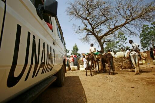 The side of a vehicle belonging to the joint United Nations-African Union mission in Sudan's Darfur region.