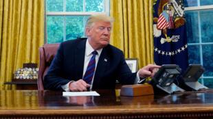 Trump anucnió un nuevo nombre para el acuerdo comercial con México en una rueda de prensa desde el Despacho Oval. Durante la misma conversó con el presidente mexicano Enrique Peña Nieto el 27 de agosto de 2018.