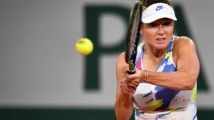 Worried: Ukraine's Elina Svitolina in action on Wednesday