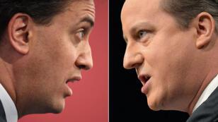 Le Premier ministre conservateur David Cameron et son adversaire travailliste Ed Miliband.