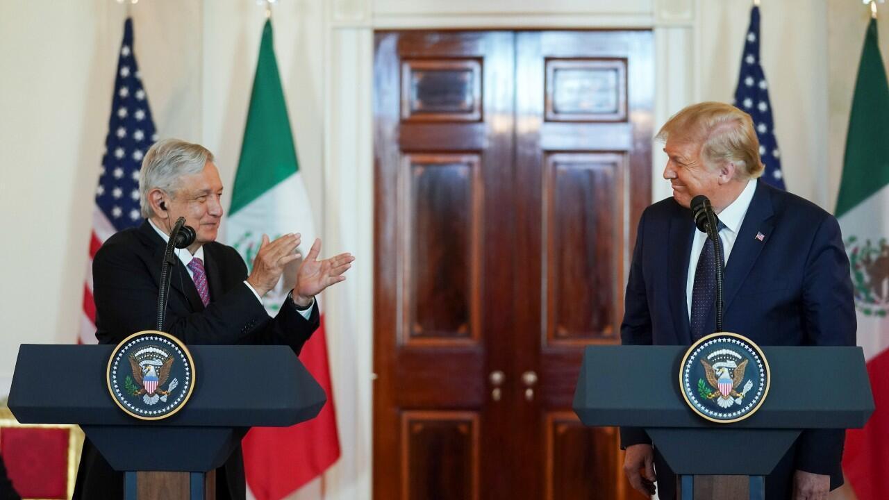 El presidente de México, Andrés Manuel López Obrador, en una declaración conjunta, con el presidente de Estados Unidos, Donald Trump, en la Casa Blanca, en Washington, EE.UU., el 8 de julio de 2020.
