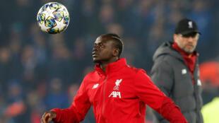 Sadio Mané lors de l'échauffement avant le match de Ligue des Champions de Liverpool contre Genk, le 5 novembre 2019.