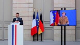 مؤتمر صحفي مشترك بين الرئيس الفرنسي إيمانويل ماكرون والمستشارة الألمانية أنغيلا ميركل. 05/02/2021