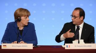 Conférence de presse avec Angela Merkel et François Hollande, vendredi 2 cotobre 2015.