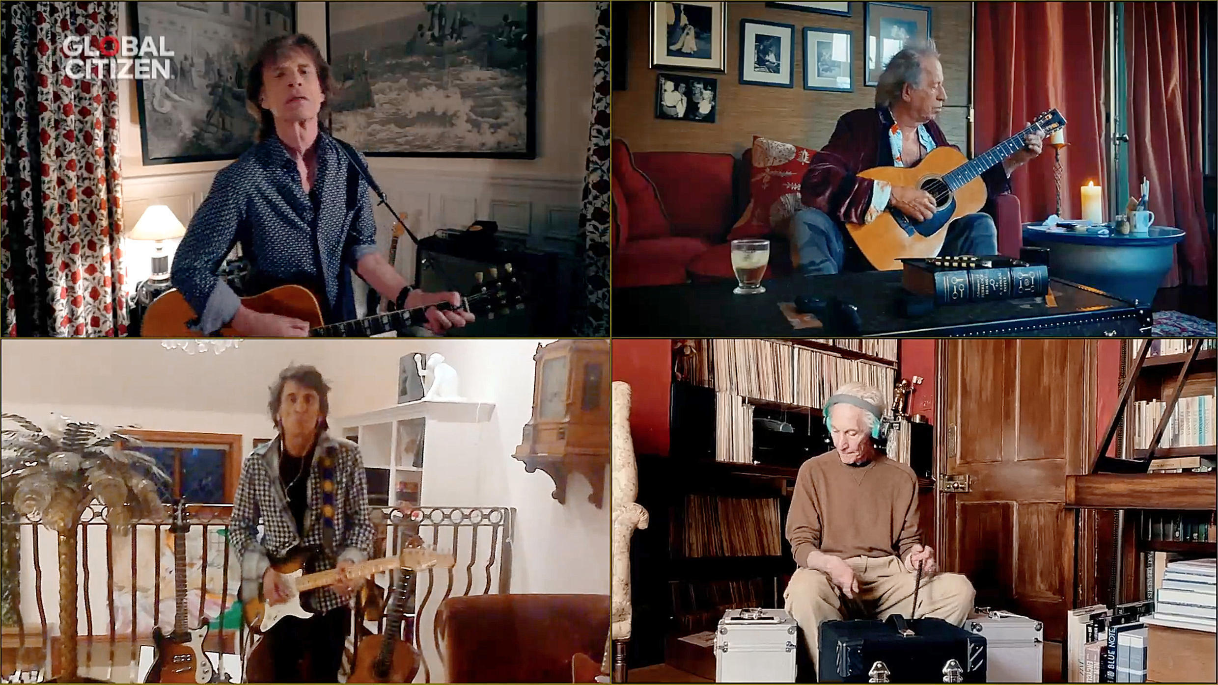 """Screengrab of The Rolling Stones perform during """"One World: Together At Home"""" presented by Global Citizen on April, 18, 2020."""