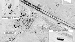 This July 14, 2020 satellite image released by the US Africa Command reportedly shows proof of Russia's involvement in Libya by showing Wagner utility trucks and Russian mine-resistant, ambush-protected armored vehicles in Sirte