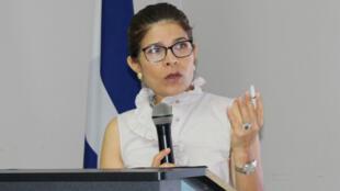 Hilda Hernández, hermana del presidente Juan Orlando Hernández, en un discurso en Tegucigalpa (Honduras) el 3 de octubre de 2016.