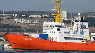 Le bateau Aquarius quitte le port de Marseille, le 1er août 2018.