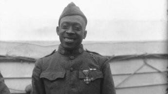 Henry Johnson wearing his war medal, the Croix de Guerre.