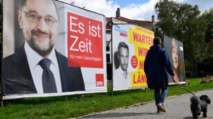 Martin Schulz y Angela Merkel, principales candidatos al cargo de canciller en Alemania en las elecciones del domingo.
