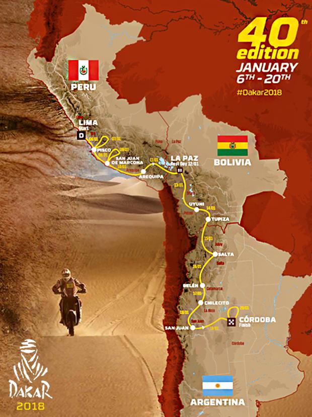 Este será el recorrido del rally Dakar 2018