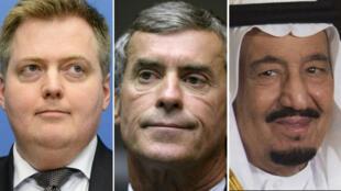 De gauche à droite: le Premier ministre islandais Sigmundur Davíð Gunnlaugsson, l'ancien ministre français du budget Jérôme Cahuzac et le roi d'Arabie saoudite, Salmane ben Abdelaziz Al Saoud.