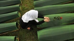 صورة التقطت خلال إحياء الذكرى 18 لمجزرة سربرنيتشا