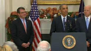 Ashton Carter (à gauche) a été nommé secrétaire à la Défense, vendredi, par Barack Obama.