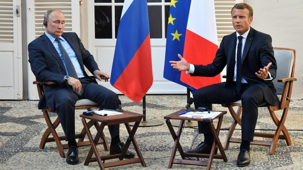 """En sus esfuerzos para """"clarificar"""" las relaciones con Rusia, Macron se reunió con su homólogo Vladimir Putin en Bregancon, en el sur de Francia, el pasado 19 de agosto"""