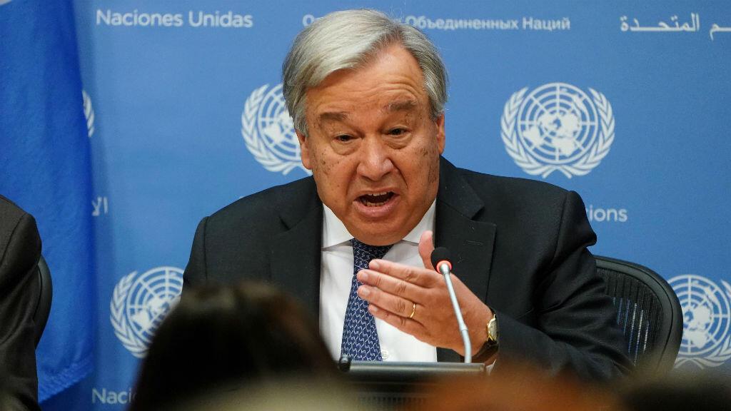 El Secretario General de las Naciones Unidas, António Guterres, habla a la prensa en la sede de la ONU en el distrito de Manhattan en Nueva York, Estados Unidos, el 18 de septiembre de 2019.