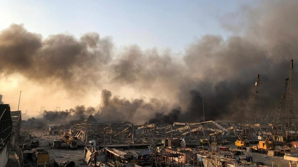 La devastación provocada en el puerto de Beirut por la explosión masiva registrada el 4 de agosto de 2020.