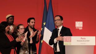 Le candidat du PS à l'élection présidentielle Benoît Hamon, le 23 avril 2017.
