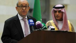 Le ministre français des Affaires étrangères, Jean-Yves Le Drian, et son homologue saoudien, Adel al-Jubeir, lors d'une conférence de presse le 15 juillet 2017.