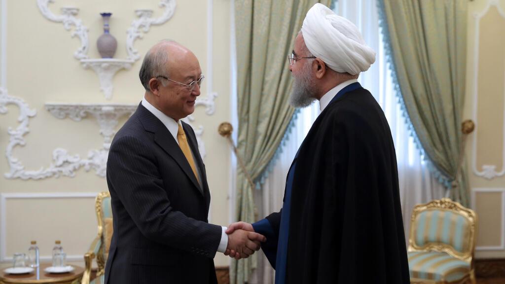 Encuentro entre el presidente iraní, Hassan Rouhani, y el director general del Organismo internacional de energía atómica, Yukiya Amano.