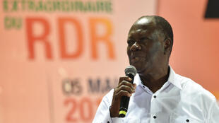 Le président ivoirien Alassane Ouattara lors du quatrième congrès du RDR, à Abidjan, le 5 mai 2018.