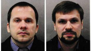 Alexander Petrov (izquierda) y Ruslan Boshirov (derecha), acusados por el Reino Unido de haber perpetrado el ataque al exespía ruso, Sergei Skripal, en una imagen de la Policía Metropolitana en Londres, el 5 de septiembre de 2018.