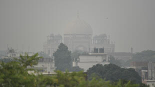 Humayun's Tomb is seen under heavy smog conditions in New Delhi on October 30, 2019.