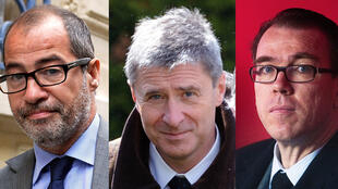 Philippe Blanchetier (g), avocat de l'UMP, Philippe Briand (centre), ancien trésorier de la campagne de 2012 et Guillaume Lambert (d), ancien directeur de campagne de Nicolas Sarkozy.