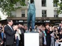 The statue of Coluche's dungarees in his hometown of Montrouge.