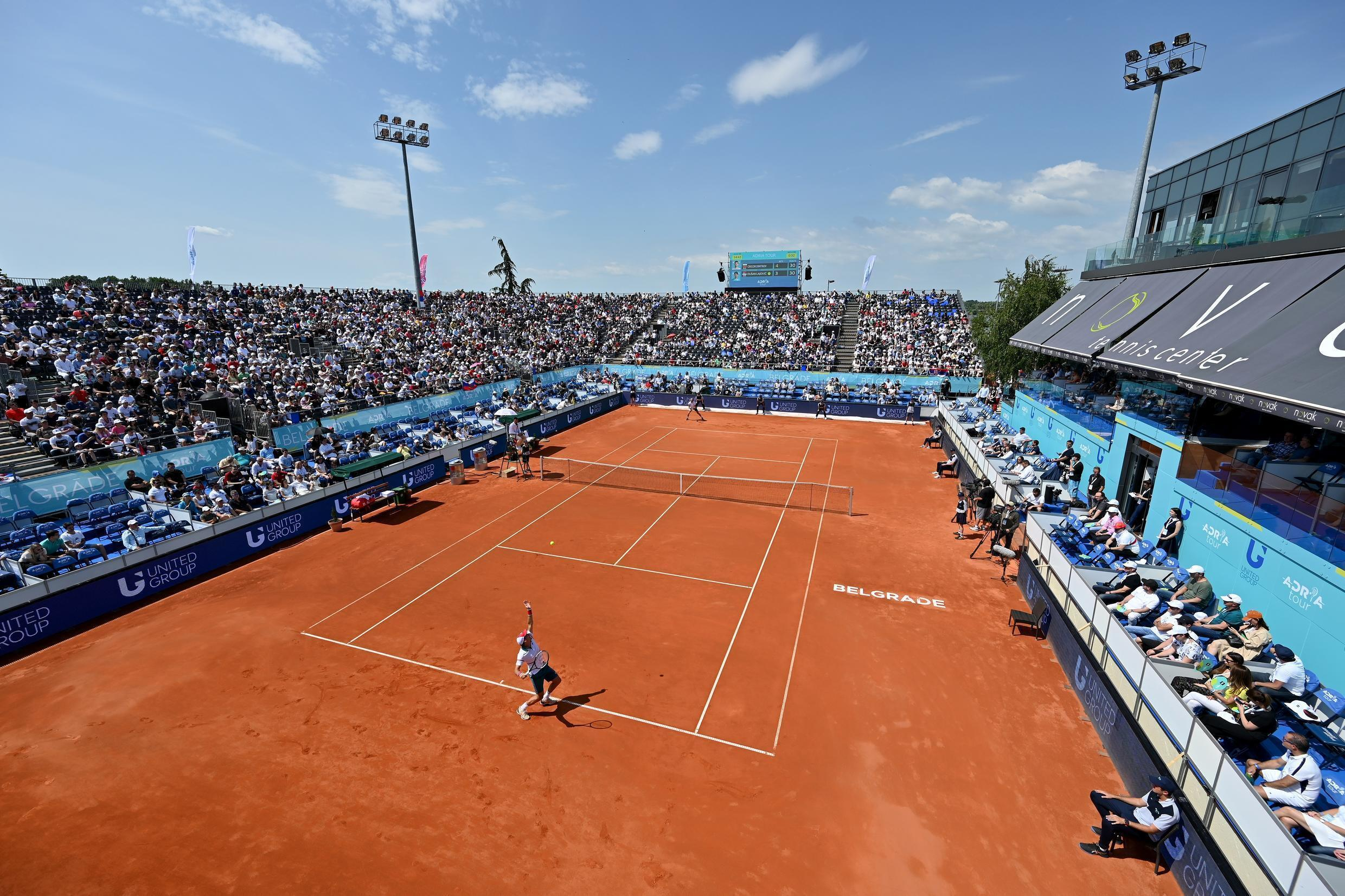 Serbia's Dusan Lajovic takes on Grigor Dimitrov of Bulgaria at the charity tournament hosted by Novak Djokovic, on June 13, 2020 in Belgrade.