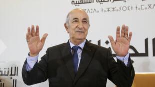Le nouveau président algérien Abdelmadjid Tebboune,photographié lors d'une conférence de presse à Alger, le 13 décembre 2019.