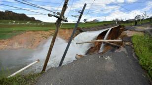 Des inondations le long du Rio Guajataca, le 23 septembre 2017, à Porto Rico.