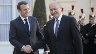 Le président français Emmanuel Macron et son homologue irakien, le 25 février 2019 à l'Élysée.