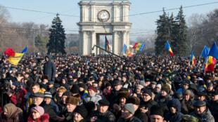 Manifestation contre le pouvoir en place à Chisinau, le 21 janvier 2016.